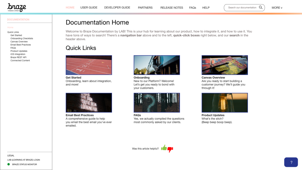 Early concept of the new Braze Docs site.