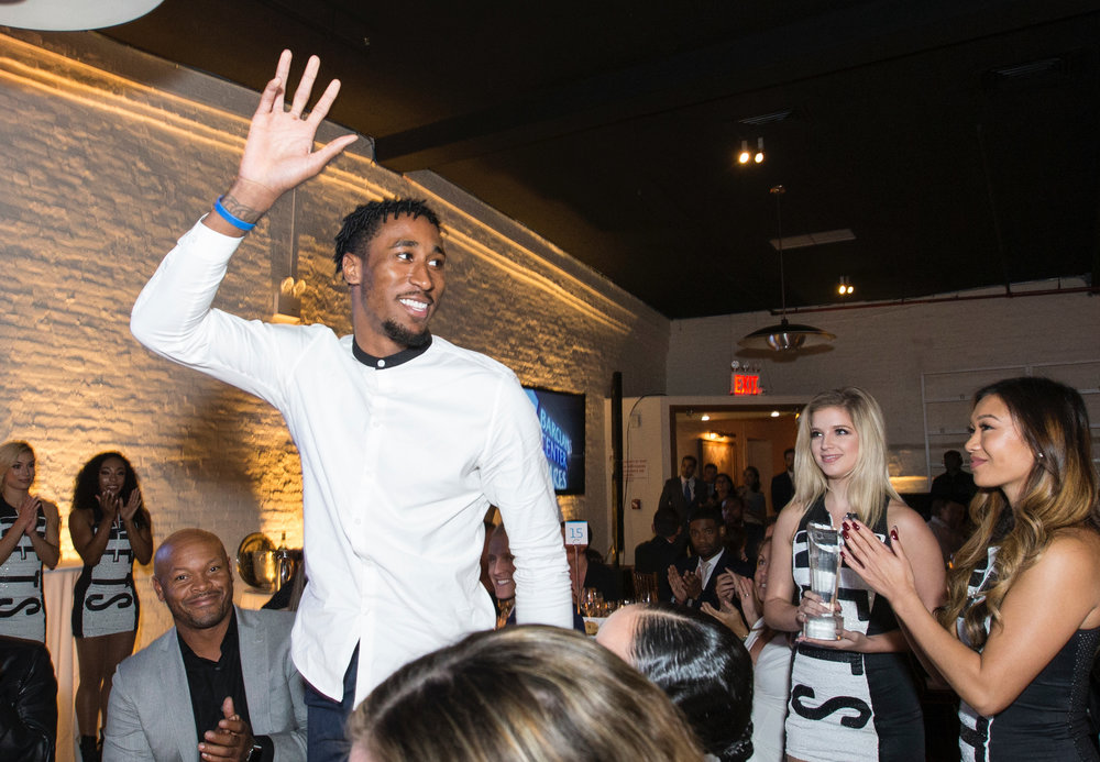 """Brooklyn Nets player Rondae Hollis-Jefferson being honored with the Community Leader Award      The Barclays Center's """"Shining a Light on Brooklyn"""" gala - Historic Liberty Warehouse on Red Hook's Pier 41 -Oct 12, 2017"""