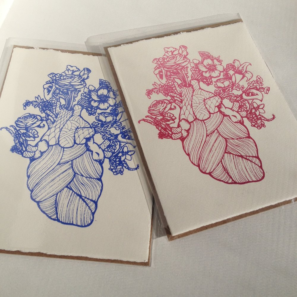 Blooming Heart card, in red fade or blueprint, sold with envelope, message inside  Original art done in ink pens before being transferred to screen