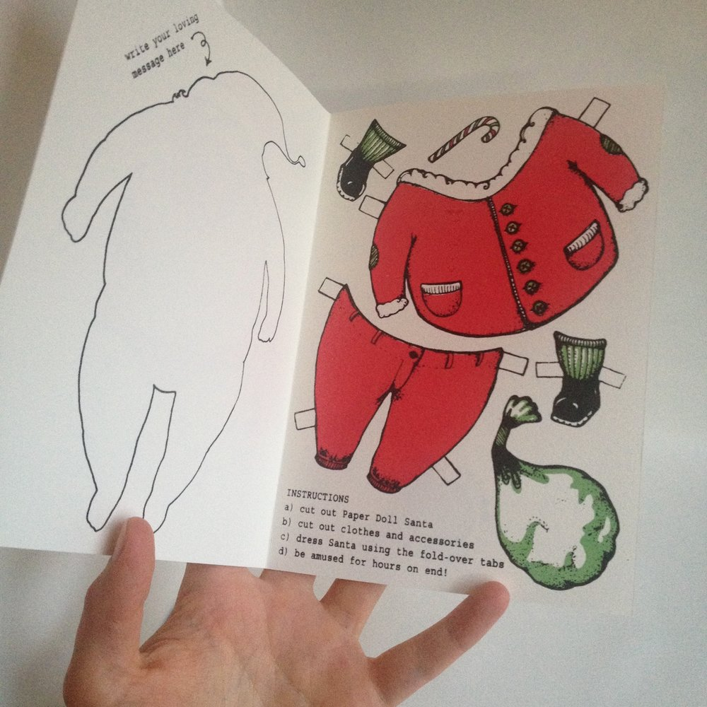 Paper Doll Santa interactive card, inside  Original artwork done in ink pens, arranged and text added digitally before being transferred to screen