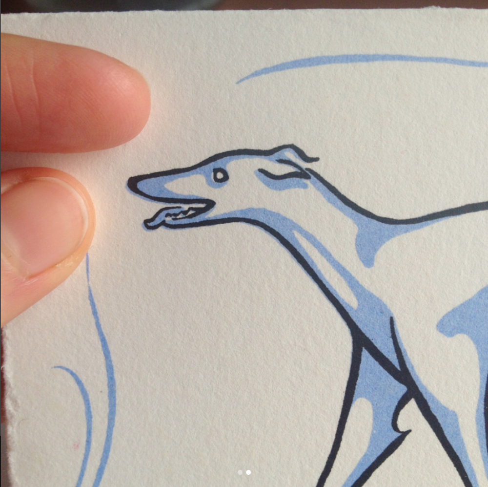 Close-up of the greyhound card with art nouveau inspired border  Original art done in brush &ink, before being transferred to screen