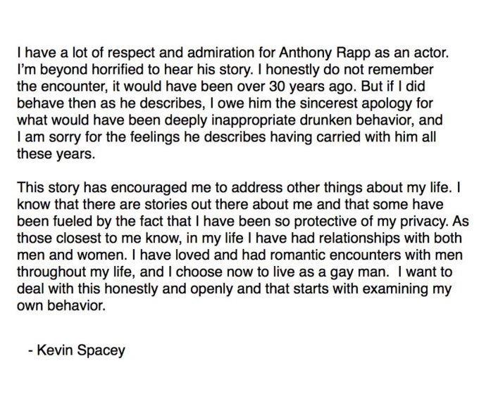 Spacey's statement he posted on Twitter.