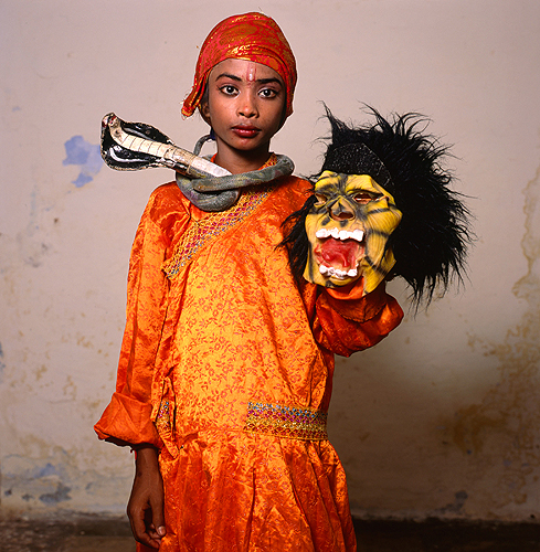 Phyllis Galembo, Child with Monster Mask, India , 2014