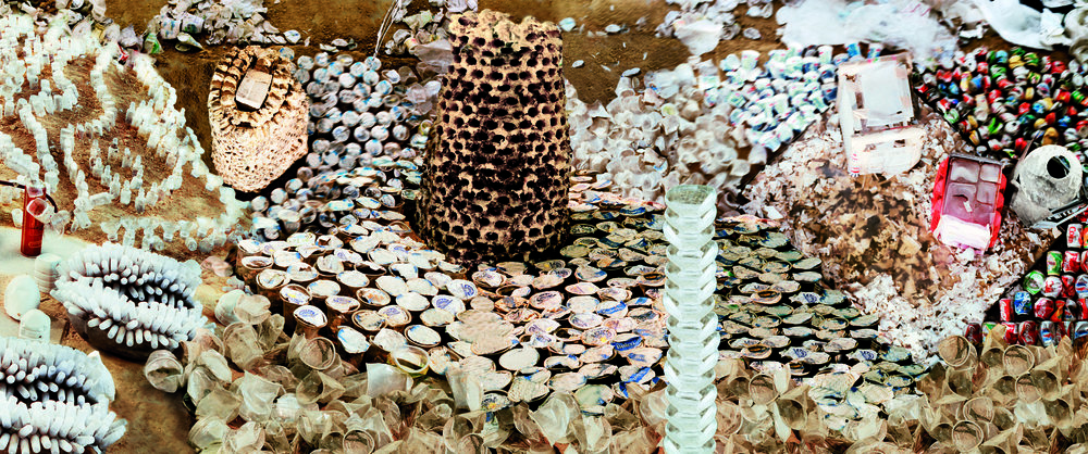 Vivan Sundaram,  Reef (with Tower) , from the series  Trash , 2008 Archival Digital Print 39.5 x 94.5""