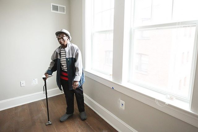 Mrs. Phillips, who emigrated from Tobago in the 1960s, has lived in this apartment since 1972. Here she is entering her newly-renovated space for the first time during the grand opening of the Maycroft | Washington, DC | @jubileehousing #jubileehousing #justicehousing #housingforall #affordablehousing #historicpreservation #nonprofit #marthastable #dc #dcdhcd #washingtondc #ward1