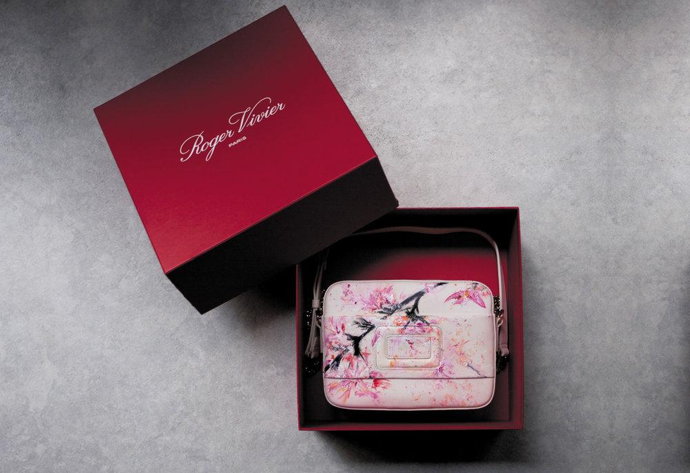 roger vivier - illustrated sakura print on bag