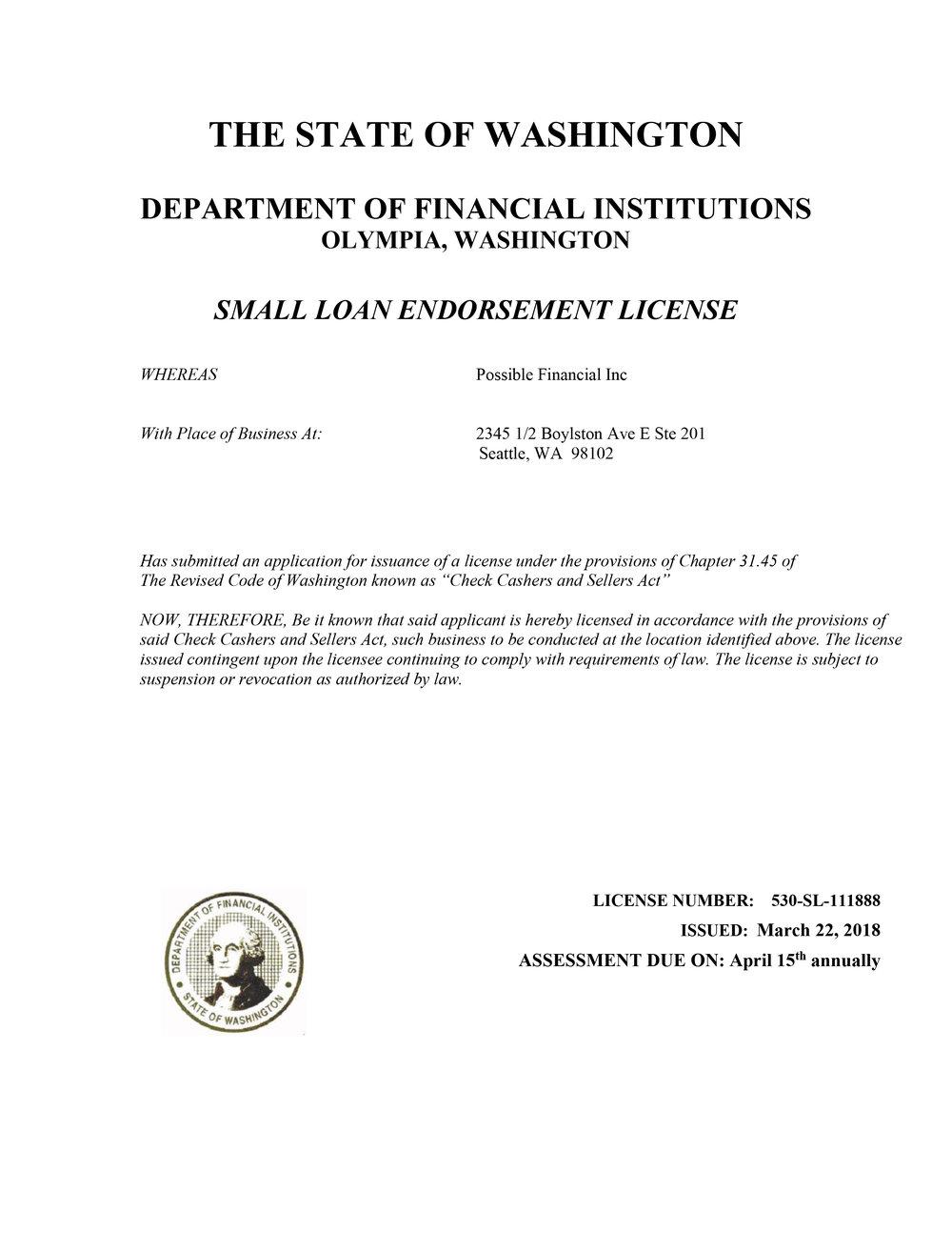 Washington lending license for Possible Finance