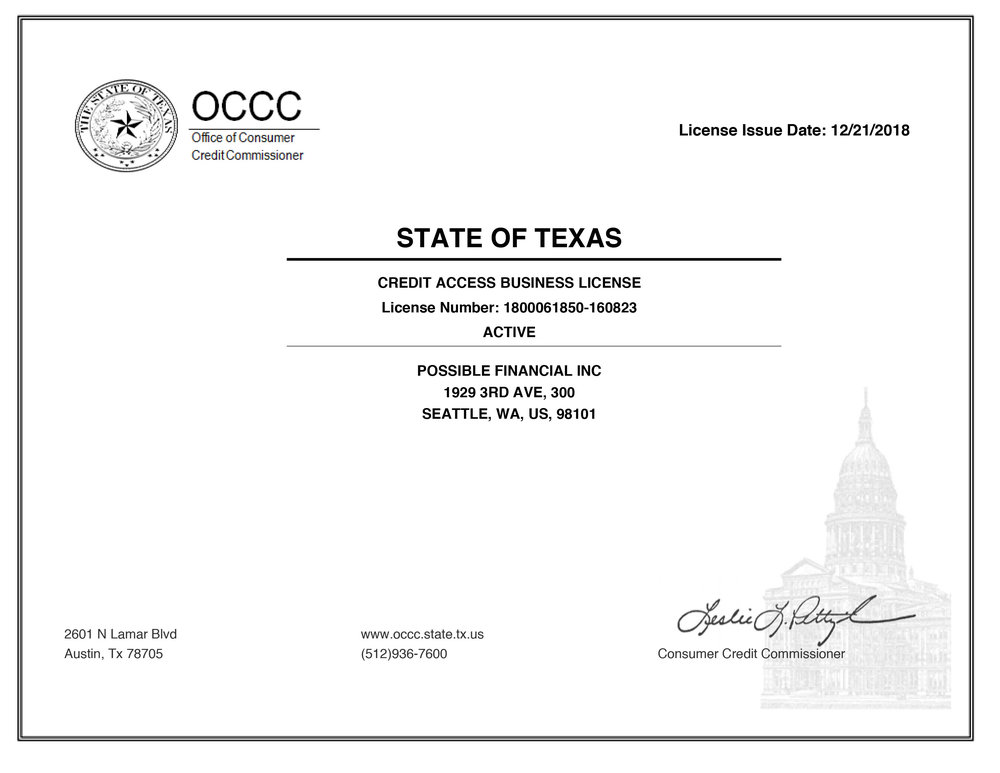 Texas CAB license for Possible Finance