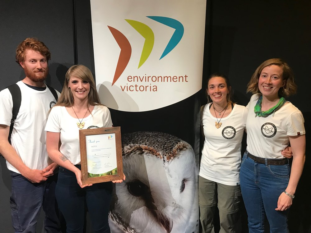 Above: WOTCH surveyors Jake, Ruby and Hayley and WOTCH president Maggie accept a Community Environment Award at Environment Victoria's 2018 AGM