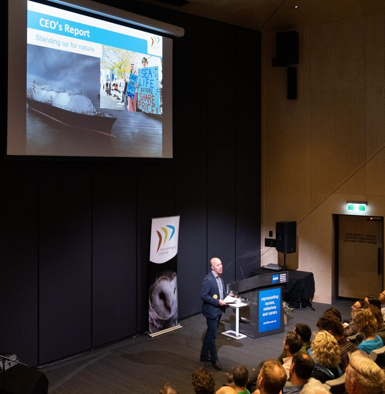 Above: Environment Victoria CEO Mark Wakeham addresses EV members at their annual AGM (Image credit: Candy Van Rood, Save Westernport - No AGL Gas)