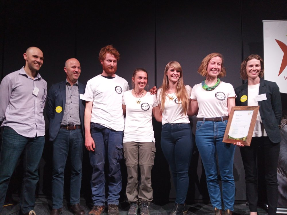 Above: WOTCH accepts their Community Environment Award alongside Environment Victoria campaigners and CEO.