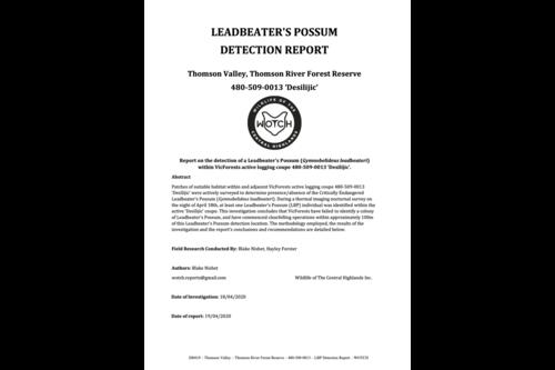 Leadbeater's Possum Detection Report – 480-509-0013 'Desilijic'