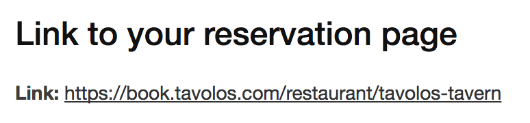 Getting your Tavolos Reservation Link