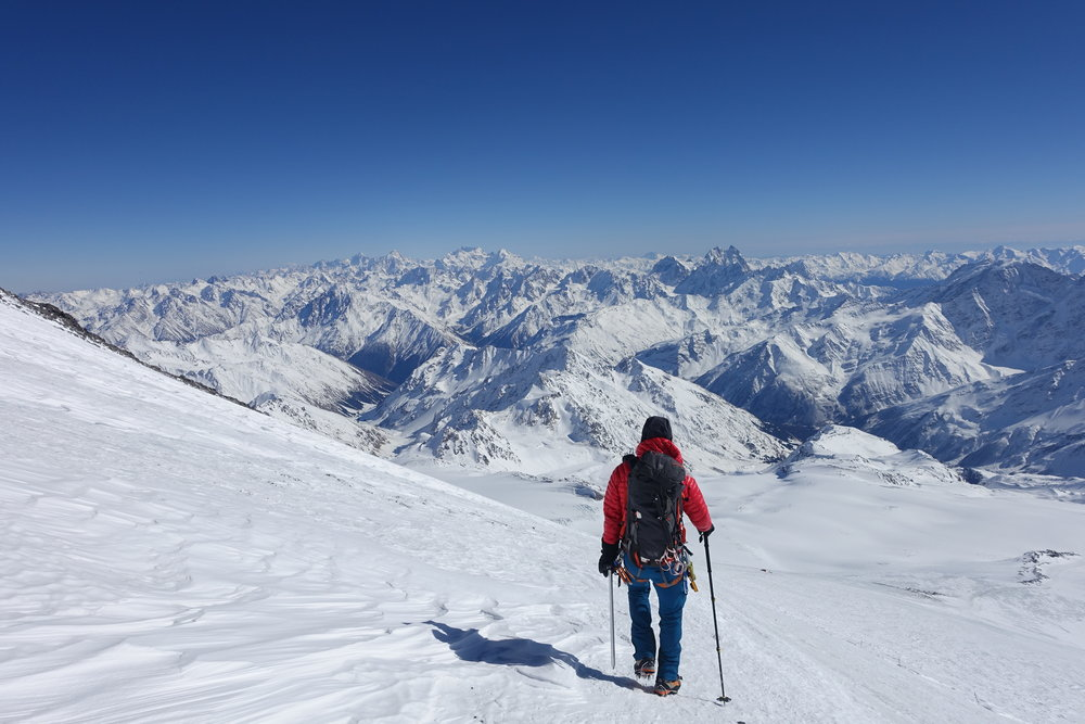 Descending Russia's Mt. Elbrus. A stunning climb in the Caucasus mountain range.