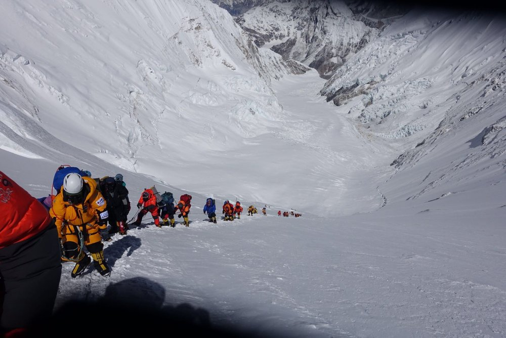 Crowds on Everest's Lhotse Face moving from Camp 3 to Camp 4.