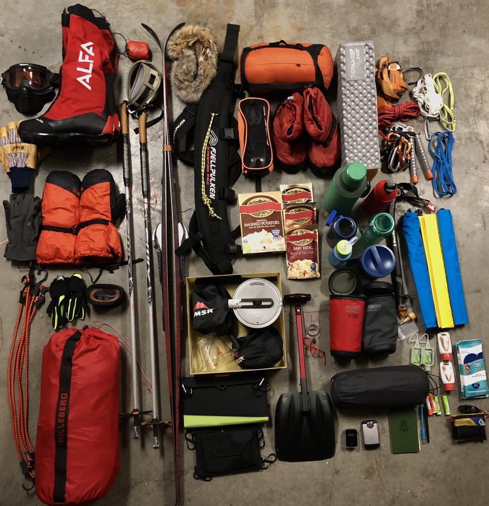 Day 14:  Some of my gear for this expedition. Lots of important items in here!
