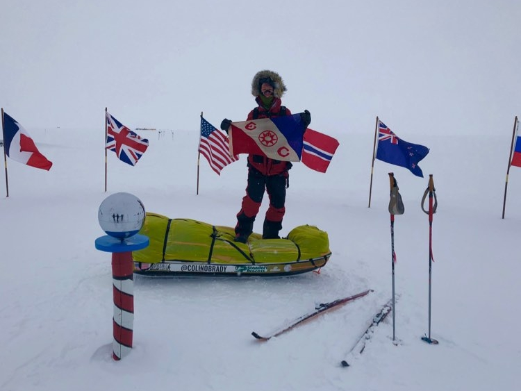 Ceremonial South Pole & Explorers Club Flag