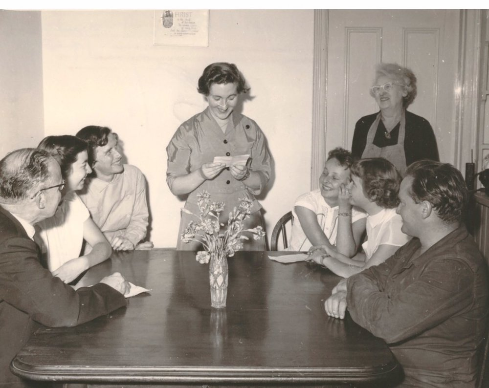 The first helpers at a meeting with Mary Garson in 1955
