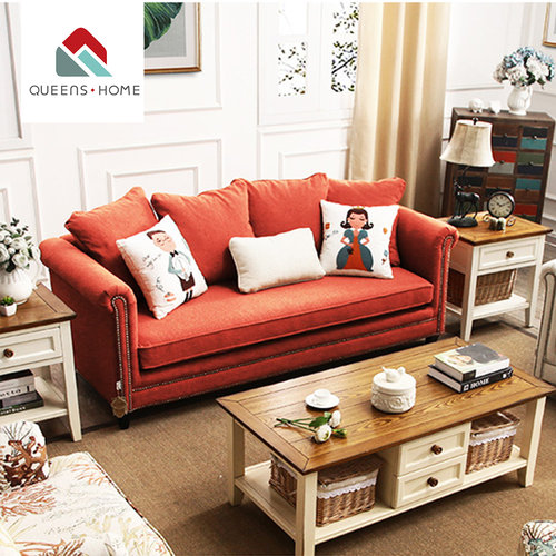Queenshome Home Furniture Factory Low Moq Red Tufted Sofa Living
