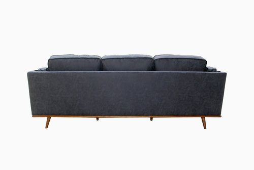 Queenshome modern brown pu furniture tufted comfy leather loveseat ...