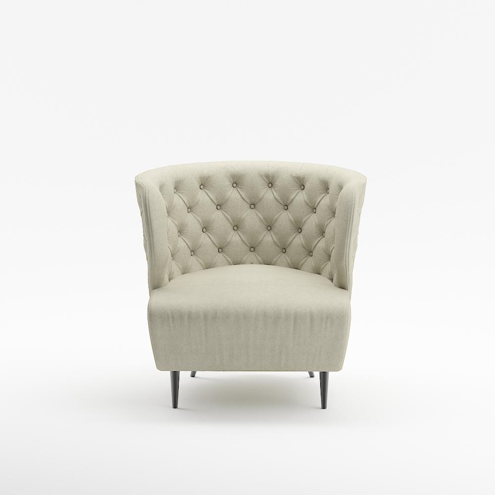Queenshome Rattan Fabric White Modern French Living Room Armchair Sofa  Chairs