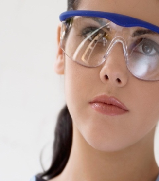 Lady wearing safety glasses