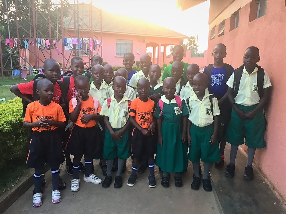 Primary School children from Victory Child Care Project Children's Home ready to start school at St. Ponsiano.
