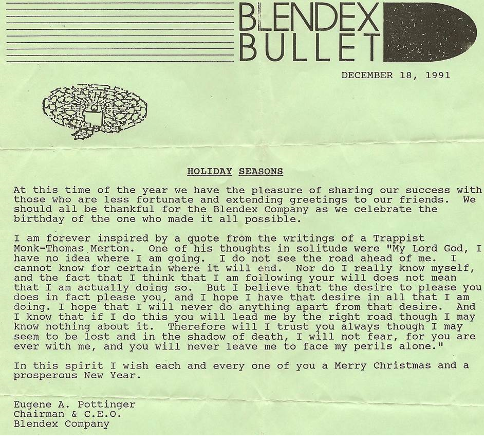Blendex newsletter 1991 from Gene Pottinger.png