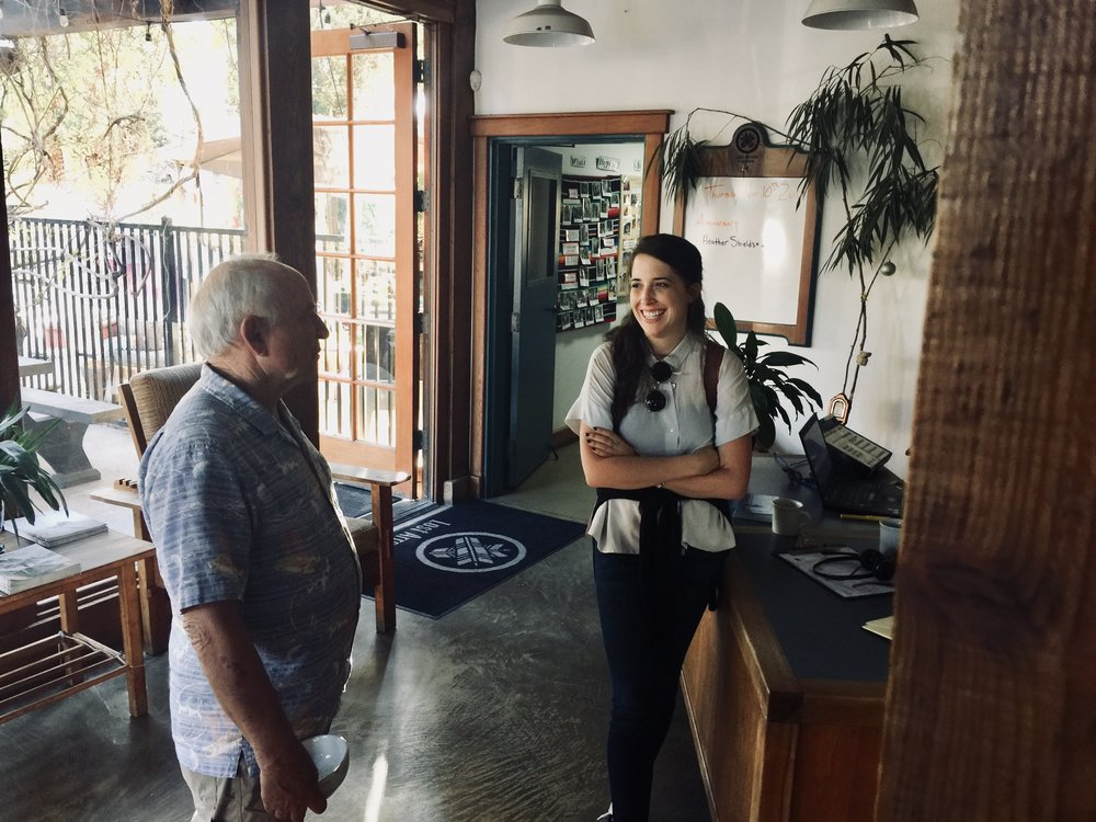 Our founder Allison Vicenzi talking shop with Patagonia's founder Yvon Chouinard in the early days of creating VICENZI. November 2016 in Ventura, CA.