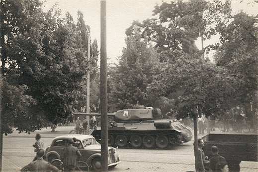 Tanks roll through Magdeburg, East Germany