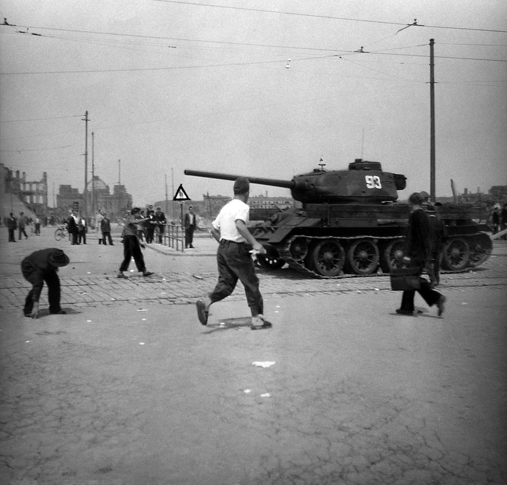 Using cobbles torn up by tanks. East Berlin