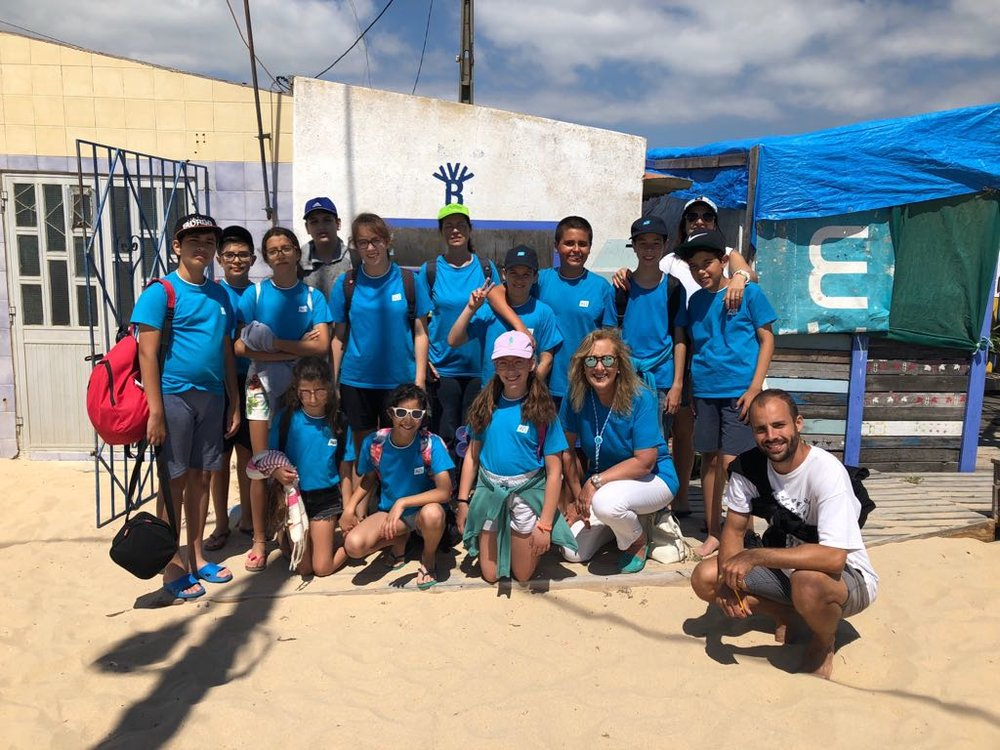 Beach cleaning with local schoolchildren, Portugal (2018)