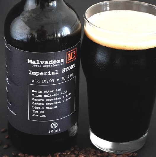 Malvadeza M3 - The third launch of the experimental series arrives with 10% of alcoholic volume, 20 IBU and 70 EBC. This Imperial Stout surprises with the unmistakable aroma of coffee coupled with chocolate and the lightness of vanilla, while remaining a strong and dark beer.Type: Imperial Stout                                  Percentage of alcohol: 10%                        Bitterness: 20 IBU                                Harmonization: Desserts with red fruits, ice cream and chocolates.Awarded Beer at the 2018 Brazilian Beer Competition (Concurso Brasileiro de Cervejas 2018) in Blumenau - SC. Bronze medal in Imperial Stout category.