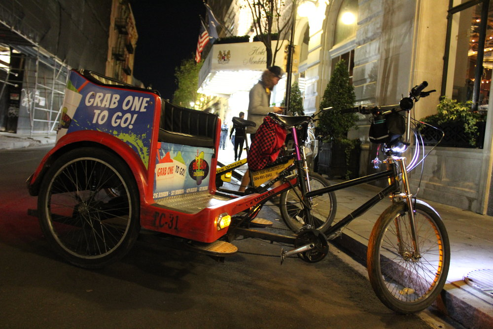 Pedicab in front of  Hotel Monteleone