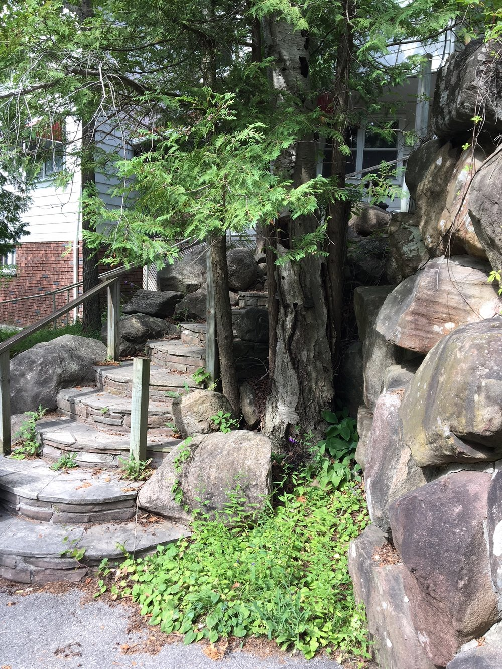 Lot 11, Stone stairway from patio IMG_5274.JPG