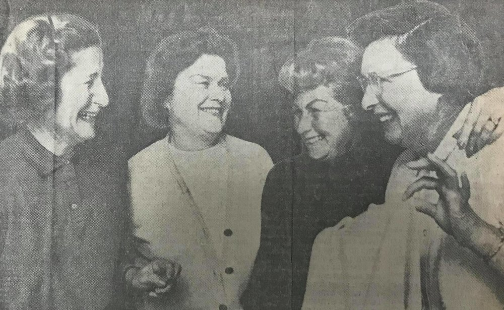 Mrs. Zachary Bogert of Berkeley, president of the Pacific Women Golfers Association, at left; and Mrs. Jerry Barlett, association director, second from left; present awards to Mrs. Clinton Adams, second from right; and Alfaretta Skadden; after a PWGA eclectic tournament at Ancil Hoffman Park.