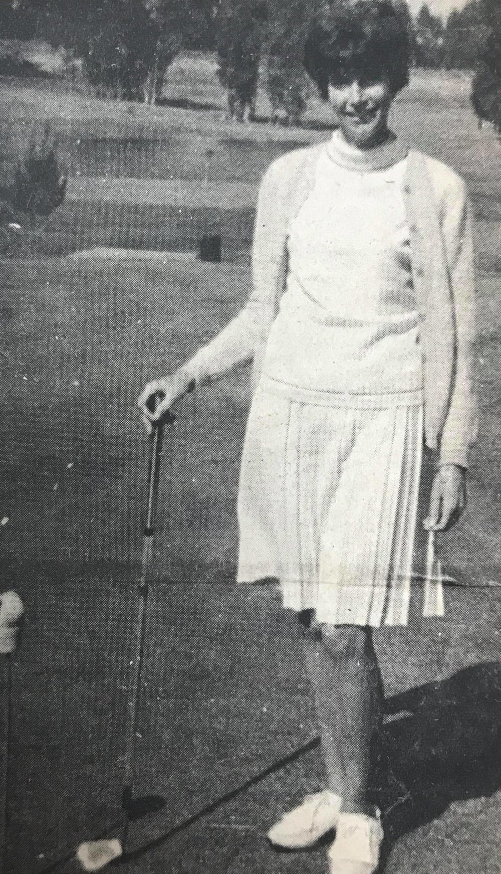 SCORES ACE—Mrs. Rex Ballingee, of Buttonwillow, made a hole-in-one during the PWGA tournament at Black Lake last weekend. She scored the ace with a driver on the 140-yard fifth hole. Witnesses were her husband, Rex, and their opponents, Normal Howell, of Oakland; and Mrs. C.J. Wigge, of Alameda.