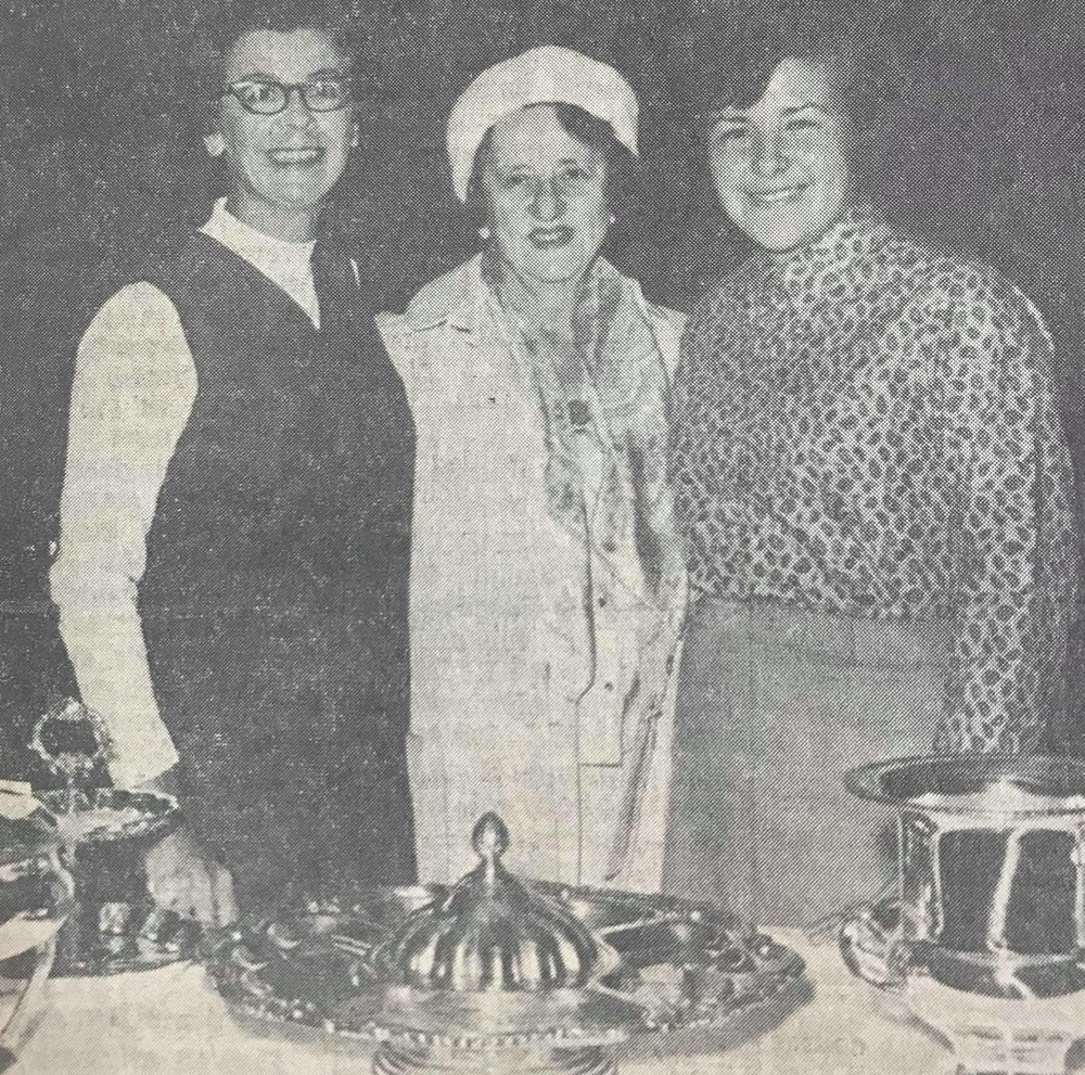 Harriet Glanville (left), Long Beach lost to Shelley Hamlin (right, Fresno today at Pebble Beach Golf Links in the finals of the 1967 California Women's Amateur Golf Championships, Director of the tournament is Mrs. Helen Lengfeld (center) at Pebble Beach and Hillsborough.