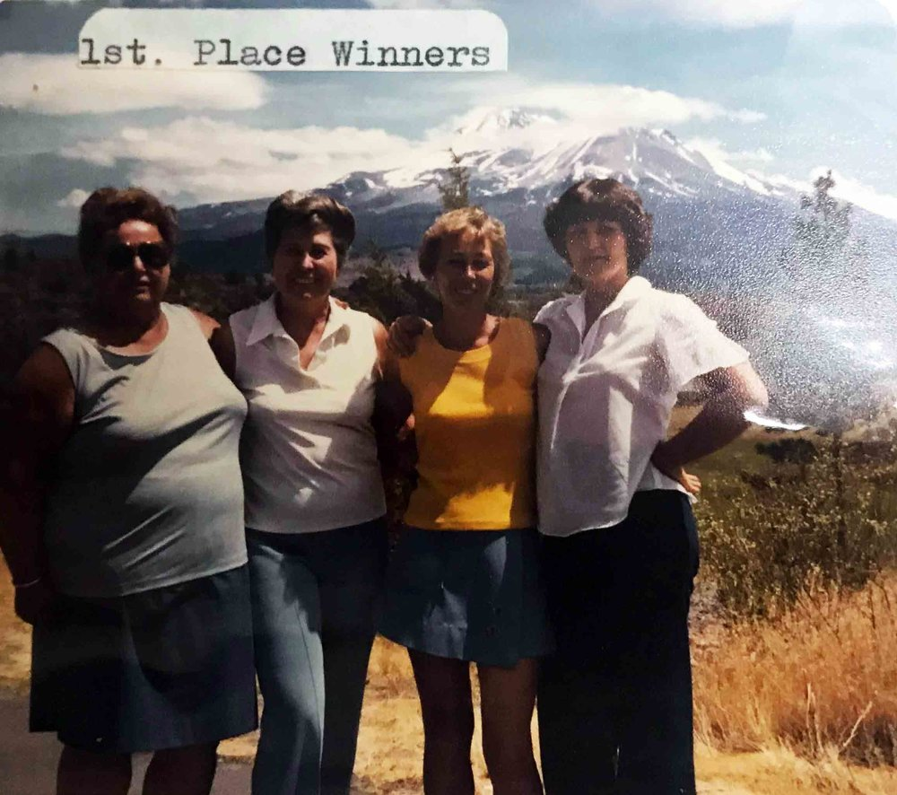 This foursome from Crescent City took it all in a sudden playoff in a Lake Shastina-sponsored golf tournament last week. From left to right are Pearl Fullington, Lois King, Joan Bolman, and Teresa Westbrook.