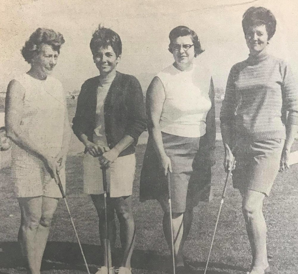 Herald & News Photo By Lee Estes  TILDEN GALS WIN EAST BAY AREA MEDAL PLAY GOLF TITLE  Mrs. W. F. Weston, Mrs. W. C. Kern, Miss A. Skadden, Mrs. C. E. Hardin