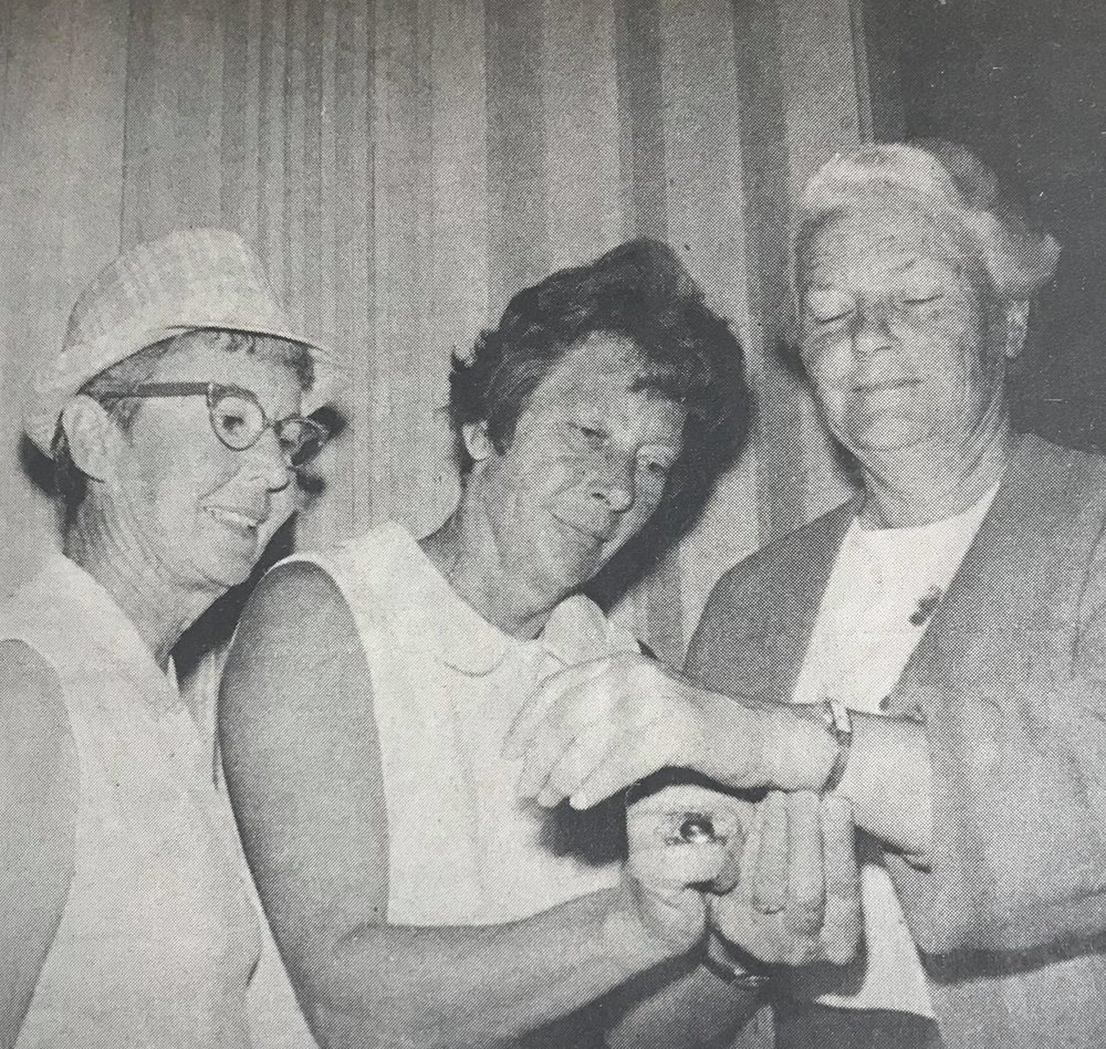 MESDAMES LAPHAM (L), WESTON ADMIRE MILDRED JUDE'S GOLD WATCH  Miss Jude won Pacific Women's Golf Association Championship