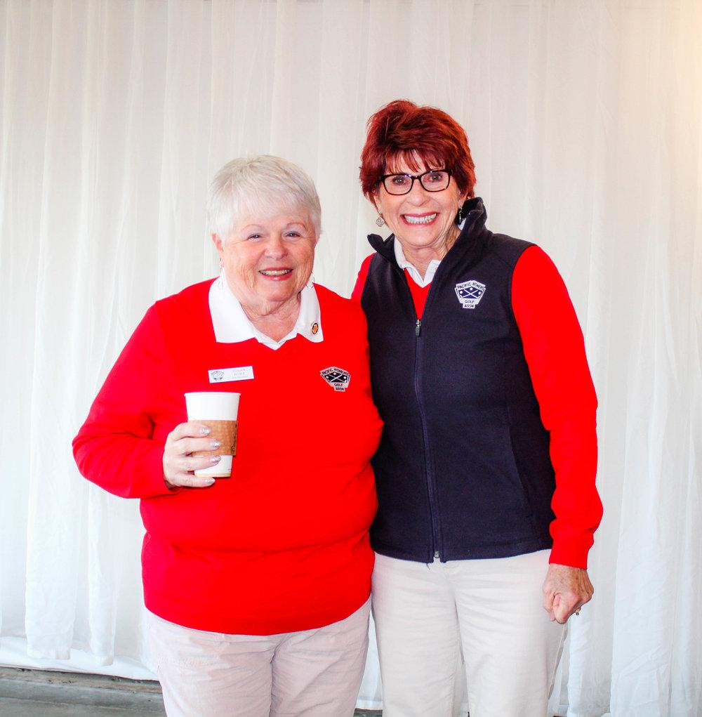Left to right: Sue Kort, PWGA Vice President,and Sandra Ferarrio, PWGA Nine-Hole Club Director.