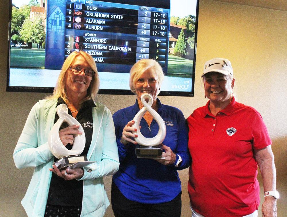 Pictured: Low Gross winner, Pam Katros, Low Net winner, Kathi Botelho, and Sacramento Area Director, Jeanne Lambson.