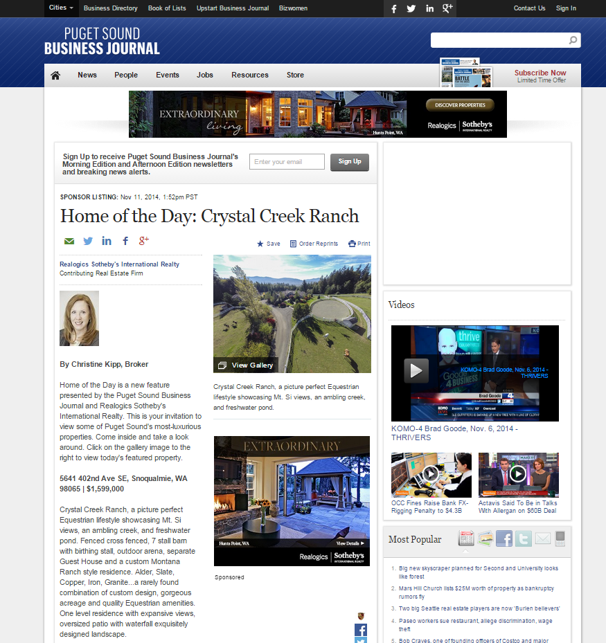 Christine Kipp Crystal Creek Ranch Snoqualmie Puget Sound Business Journal Home of the Day