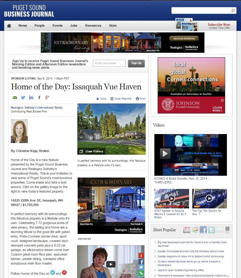 Christine Kipp Issaquah Vue Haven Puget Sound Business Journal Home of the Day