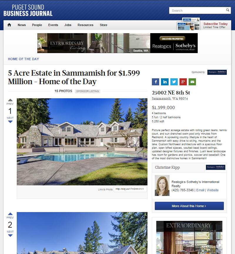 Sammamish Real Estate Christine Kipp Puget Sound Business Journal