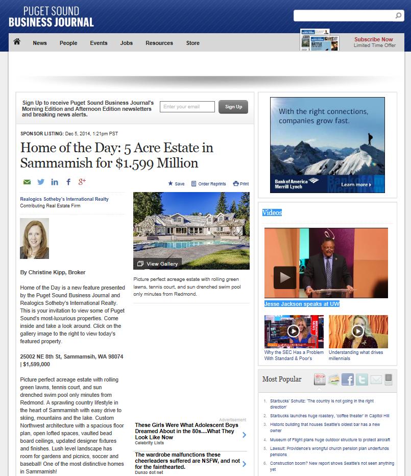 Christine Kipp Sammamish Estate Puget Sound Business Journal