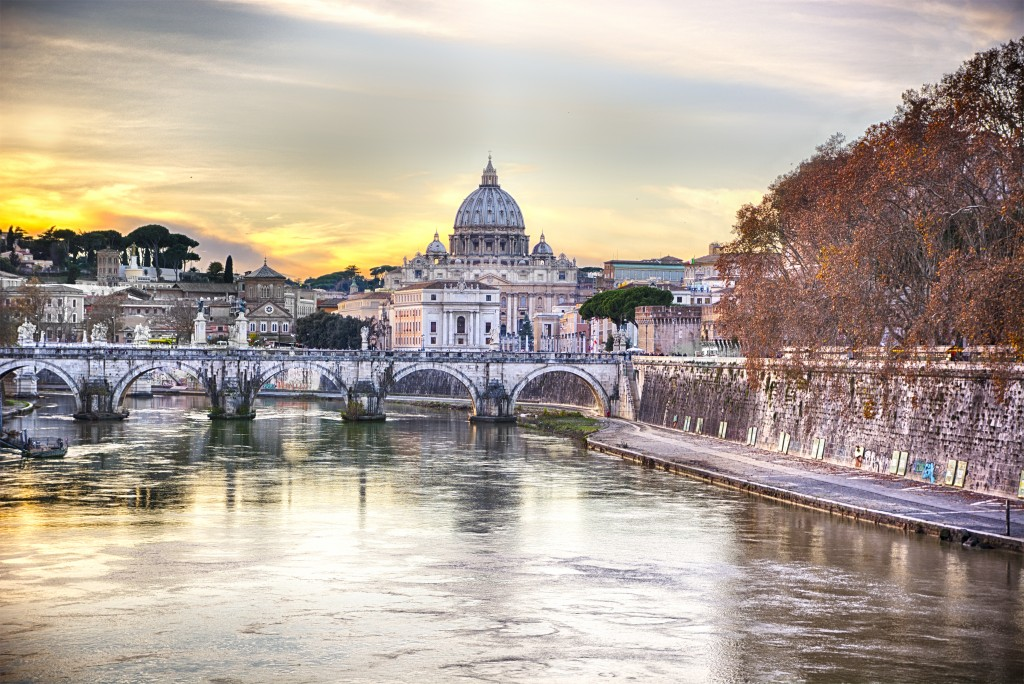 Saint Peter's Cathedral in Vatican City seen from the river Tiber