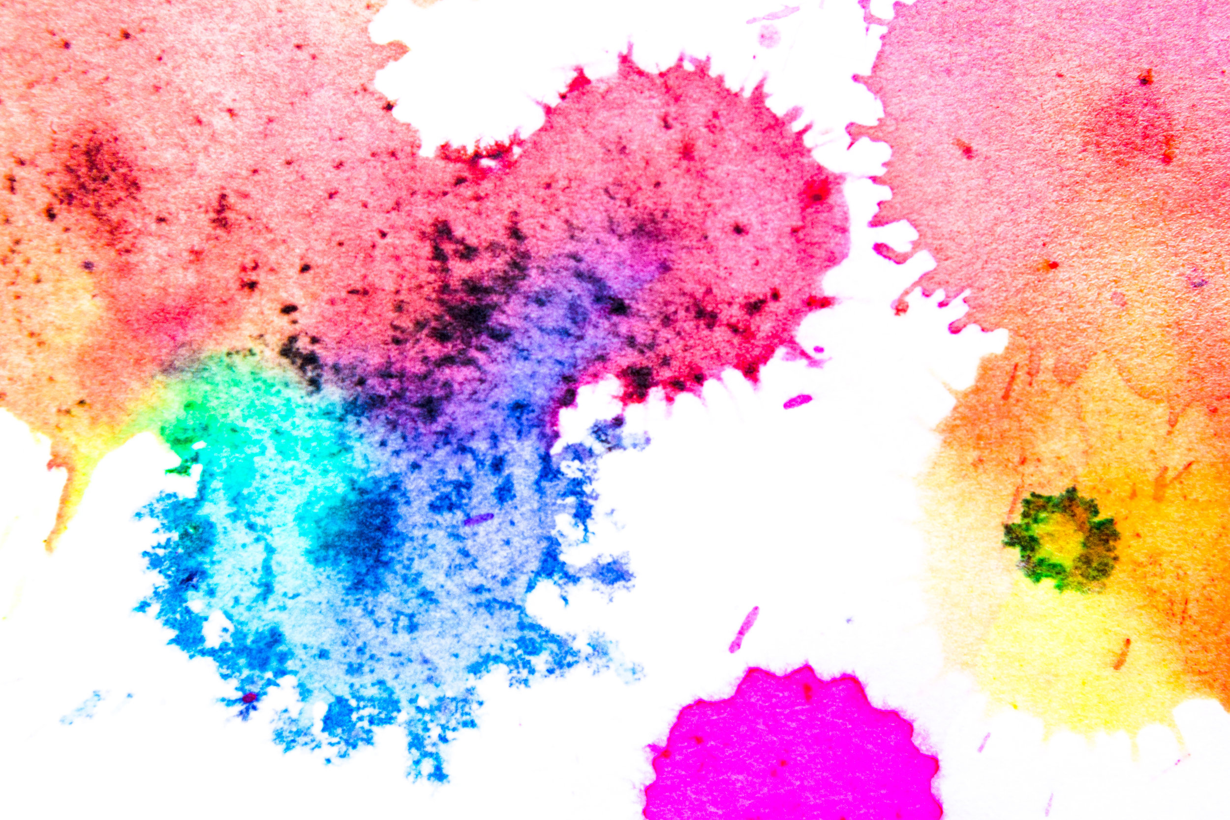drops water color on white paper background