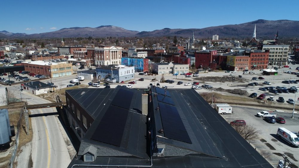 A rooftop view of BROC's new solar array in Downtown Rutland, Vermont.